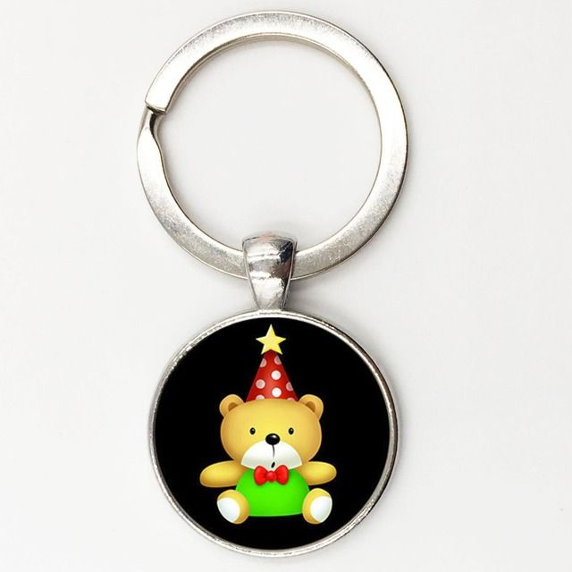 Creative teddy bear keychain metal key ring christmas gift for girl key rings women handbag charm accessory Free shipping KC50