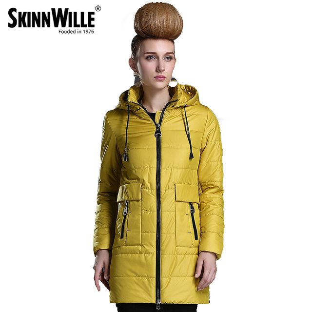 SKINNWILLE2017 Spring Women coat New Collection Medium Length Warm jacket Windbreaker Winter Cotton parka thin cotton jacket