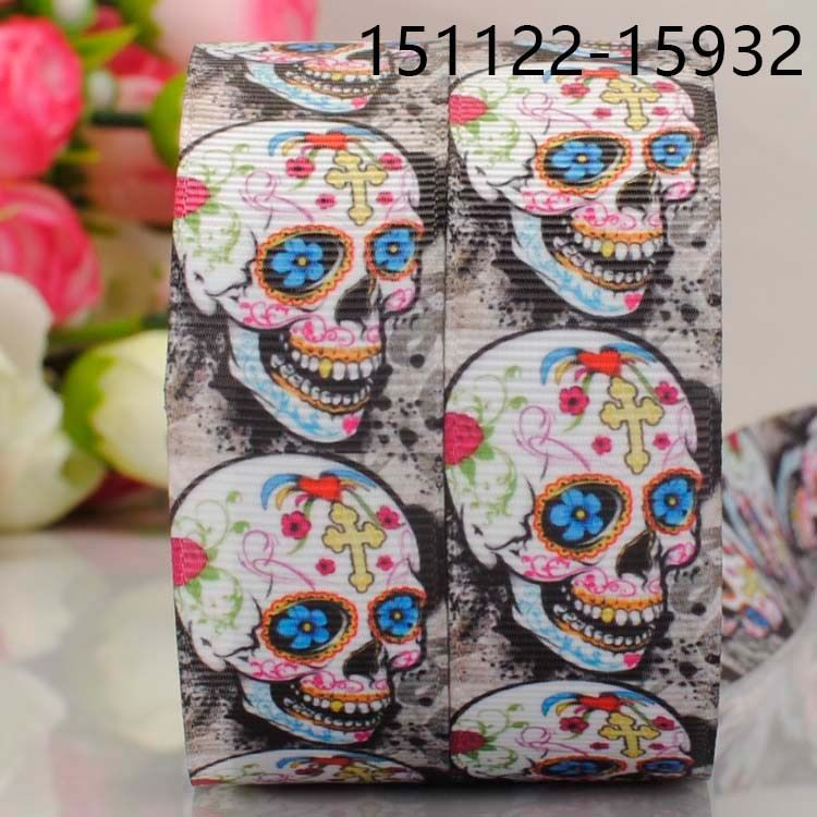 "5yards 7/8 "" 22mm  new hot unqiue skull head  pattern printed grosgrain bows and ribbons"
