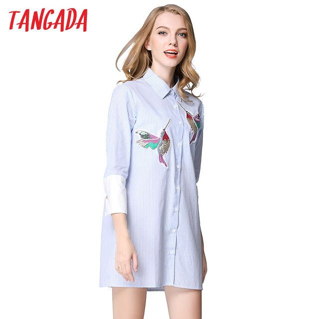 Tangada Fashion 2016 White Spring Blouse Dresses For Women Striped Bird Embroidery Sleeve Causal Brand Vestidos NRB115