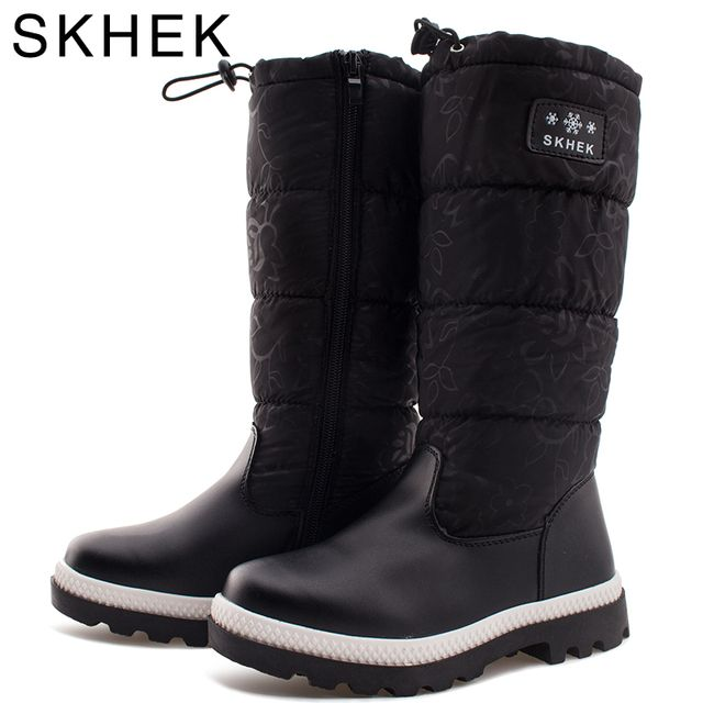 SKHEK Kids Round Toe Rubber Boots For Girls Boys platform Botas Unisex plush Shoes Flat With Designed for Russian Winter kids