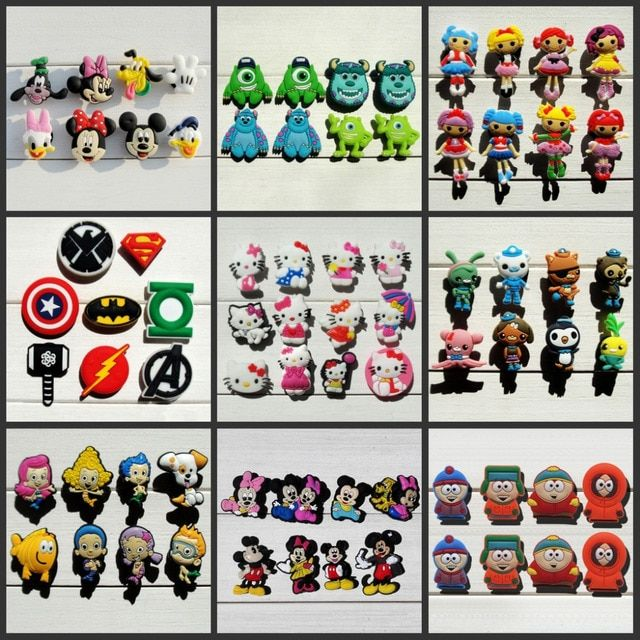 Mix Models 8pcs/lot Mickey Super hero Avengers South Park  shoe charms shoe accessories shoe decoration for croc jibz kids gift