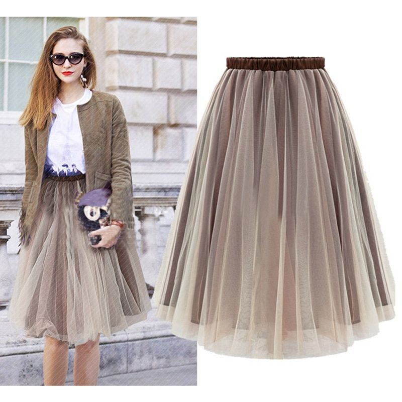Midi Skirt 2017 Summer Women Clothing High Waist Skirts Pleated A Line Casual Knee Length Saia Petticoat WSK002