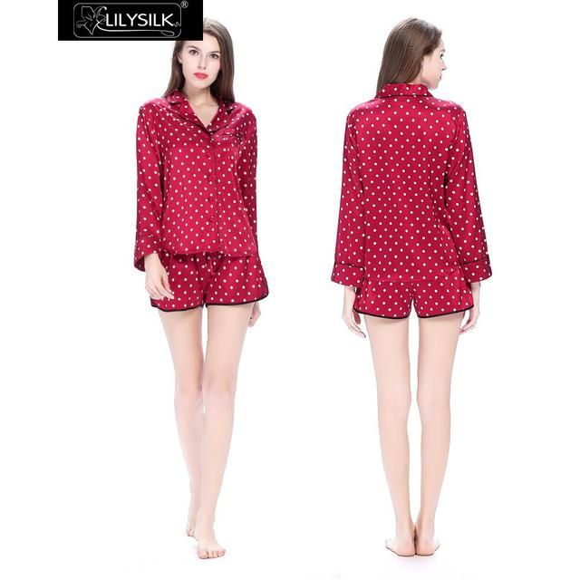 Lilysilk Women Pajamas Sleepwear With Shorts Long Sleeve Blusa Red Polka Dot 100% Silk Pure 19 Momme Sensitive Skin Care Mujer