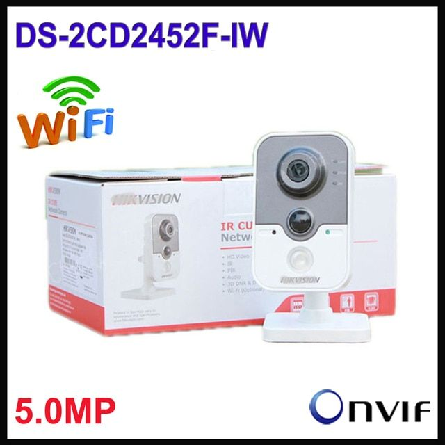Free shipping Hik 5MP IP Camera Wifi DS-2CD2452F-IW stardot IR mini cube cctv security POE cameras, wireless ip camera