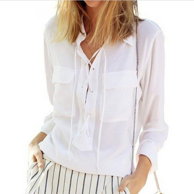 Blusas Feminina Women Turn Down Collar Front Lace Up Long Sleeve Blouse Sexy White Chiffon Tops Plus Size Shirts
