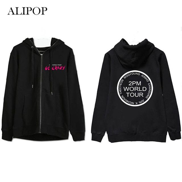 Youpop KPOP 2PM Hottest Crazy Album Hoodie K-POP Casual Cotton Hoodies Clothes Zipper Printed Long Sleeve Sweatshirts WY325