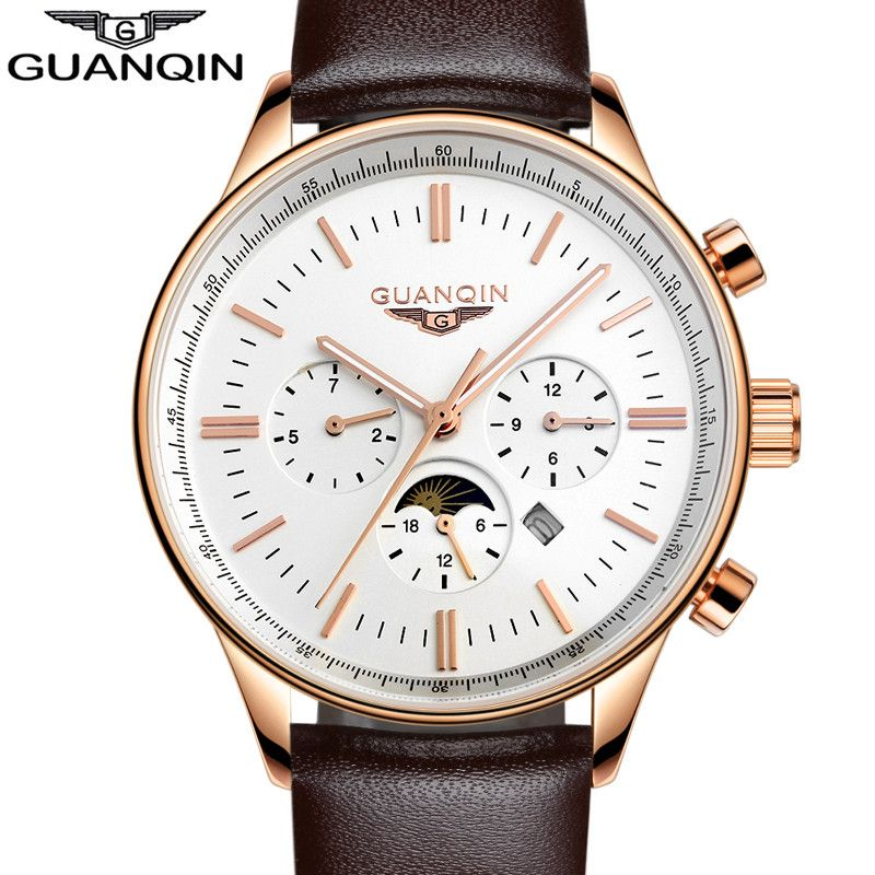 GUANQIN Men Quartz Watch New Fashion Men's Big Dial Designer Leather Band Thin Quartz Watch Luxury Watch Men Automatic Top Watch