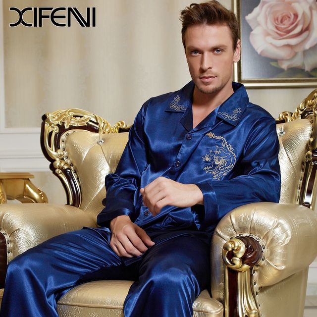 XIFENNI Spring Mens Silk Pyjamas Luxury  Blue Dragon Embroidery Long sleeve Mens Stain Pajamas Sets