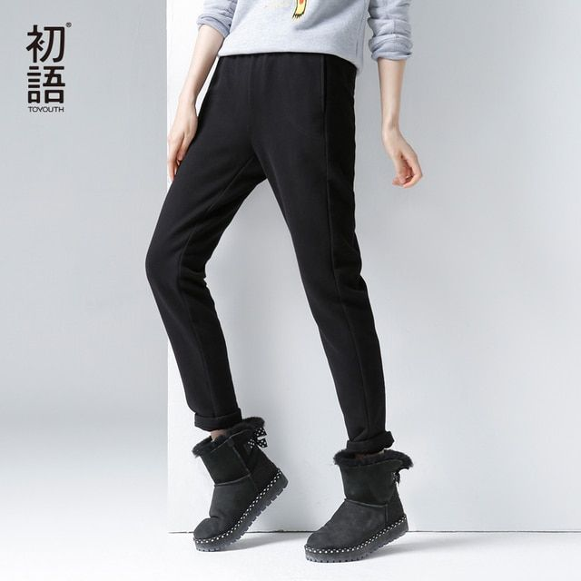 Toyouth Winter New Pants Embroidery Slim Wlastic Waist Belt Full Length Pants Casual Pants