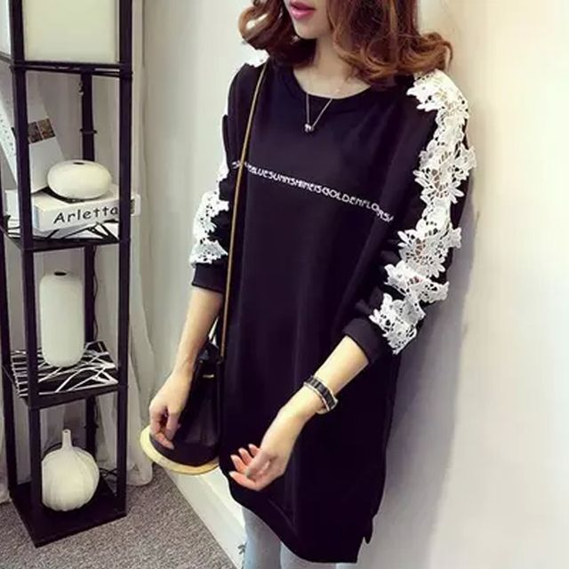 2016 New Hoodies Spring Clothes o-Neck Long Sleeve Lace Printing Hoodies Casual Fashion Loose Long Women Hoodies S20219
