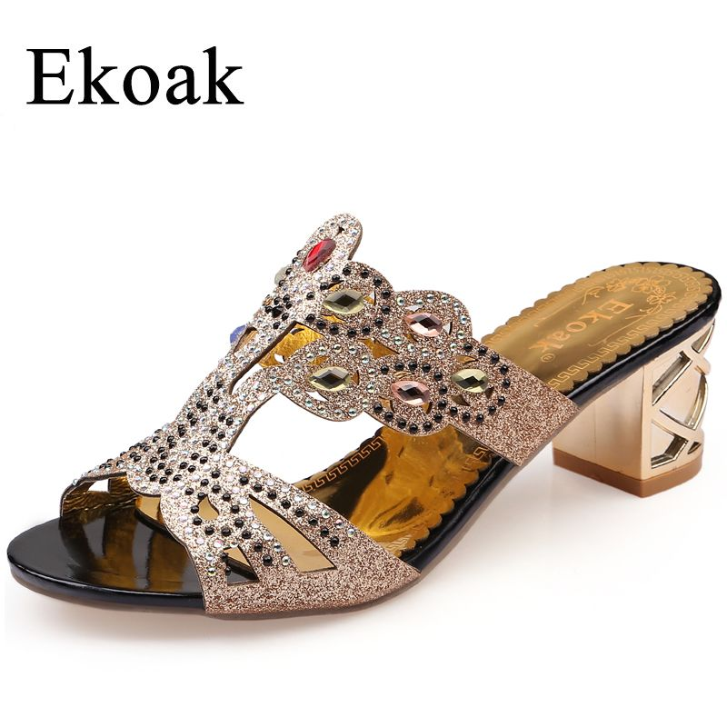 Ekoak Size 36-41 New 2018 Fashion Summer Shoes Woman Rhinestone Cut-outs High Heel Sandals Ladies Party Shoes Women