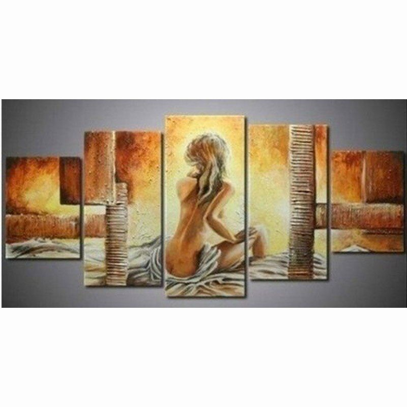 Large 5 Pieces Bedroom Painting Abstract Nude Women Oil Paintings Sexy Girl Pictures Modern Home Decor Wall Art Canvas Picture