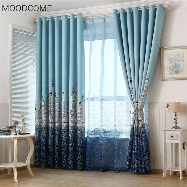 Mediterranean Water Castle Printing Thick Curtain Cloth Curtains for Living Dining Room Bedroom Study Children Blinds E