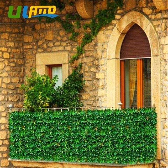 ULAND Plastic Plants Leaves Hedge Artificial Boxwood Balcony Fence 3 SQM DIY Greenery Wall Mat Garden Decoration Privacy Screens