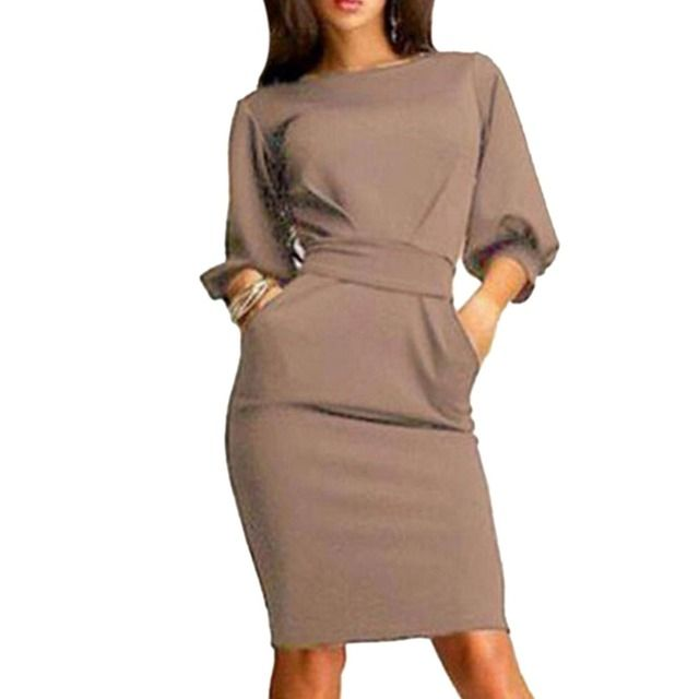 2017 Women Autumn Work Office Dress Half Sleeve O-Neck Elegant Ladies Bodycon Bandage Slim Party Dress Vestidos Plus Size