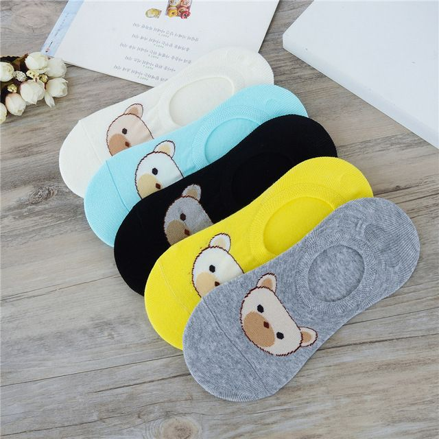Hot Sale Women Solid Candy Color Sock Small Bear Cartoon Short 100% Cotton Socks Boat Socks Breathable Casual Funny Sock Ladies