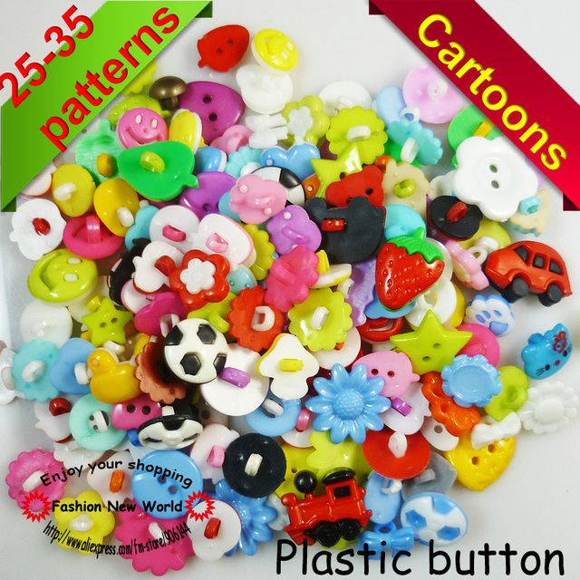 100PCS 60-80PATTERNS MIXED RANDOMLY CARTOON button  for KIDS clothes accessory CRAFTS P-029