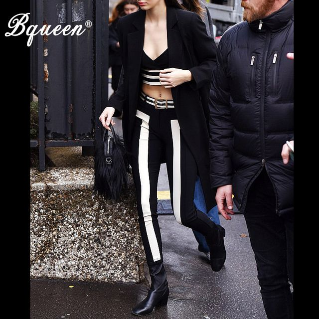 Bqueen 2017 New Fashion Celebrity Style Classic Black White Striped Crop Top Skinny Full Length Bandage Pant Suits Elastic Waist