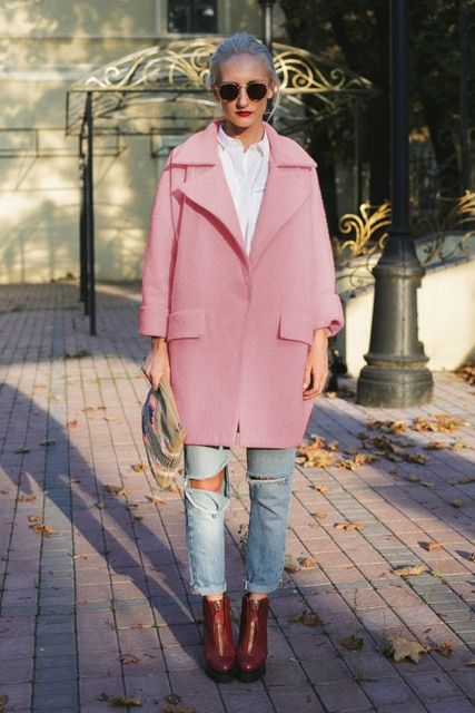UK New Casual 2017 Spring Winter Woolen Pink coat ZA Women Single button Simple Jacket Overcoat casaco feminino Female Cloth