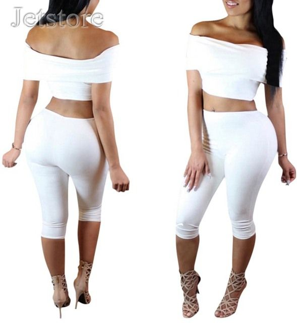 2016 New Summer Jumpsuit Sexy White Black Two Piece outfits Stretch Ldaies Bodycon Club wear Clubwear Women clothing Rompers