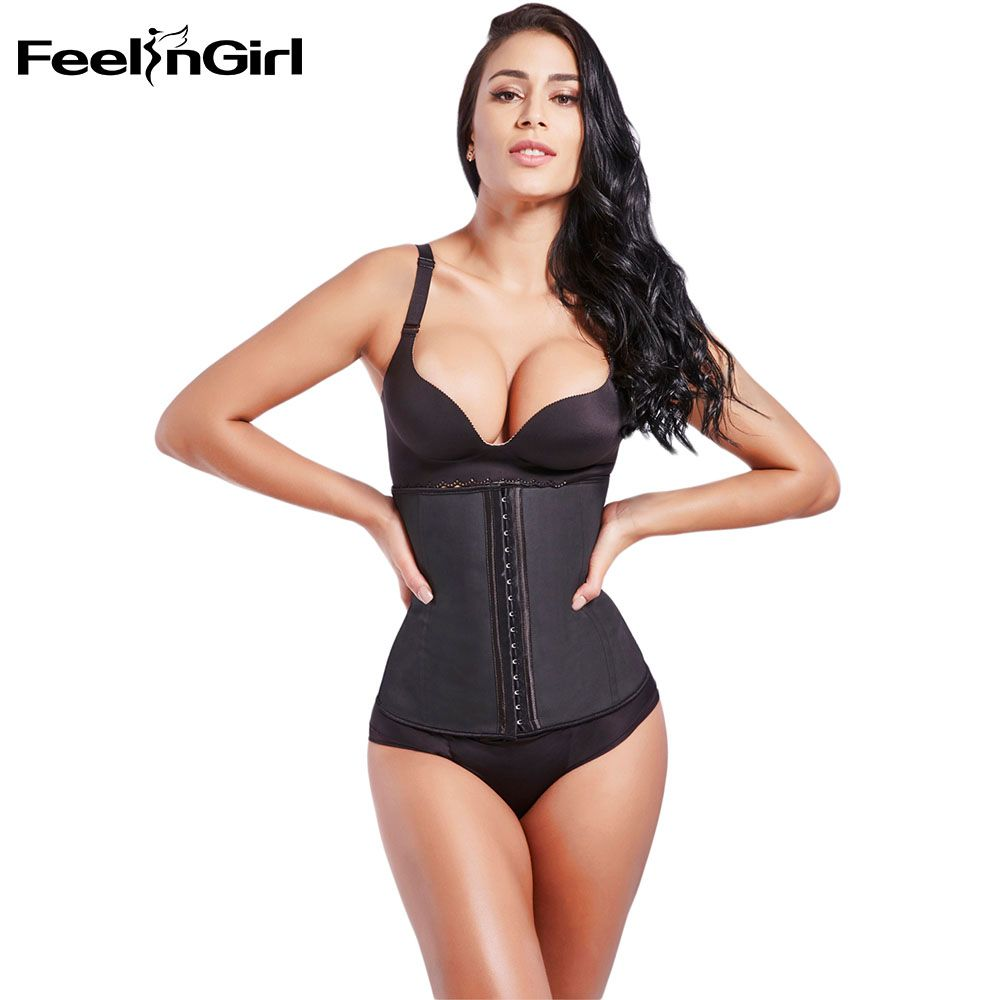Feelingirl 100% Latex Trainer 9 Steel Bone Waist Slimming Waist Cincher Burn Fat Body Shaper Girdle Slim Belt Shapewear -C