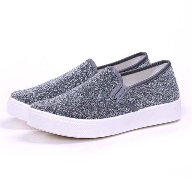 Hot sale New spring summer women thick bottom canvas shoes slip on female student flat bottom comfortable loafer casual shoes