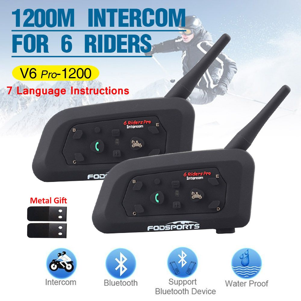 2pcs V6 Pro Multi BT Interphone 1200M Motorcycle Bluetooth Helmet Intercom intercomunicador moto headset for 6 Ride IPX5 MP3 GPS