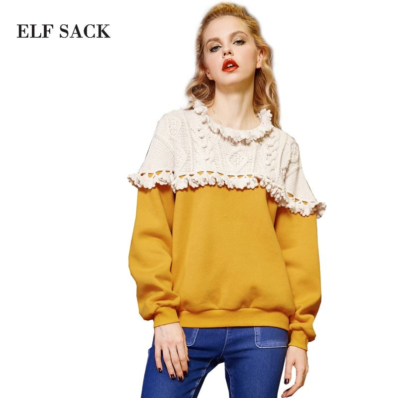 Elf SACK w trainmen alishan autumn and winter national trend ruffle hem jacquard long-sleeve pullover sweatshirt
