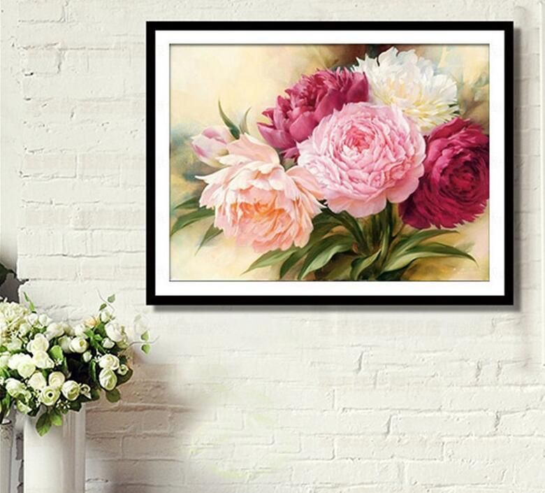 DIY 5D 5D Full Diamonds Embroidery Peony flowers Square Diamond Painting Cross Stitch Kits Diamond Mosaic Home Decoration 073