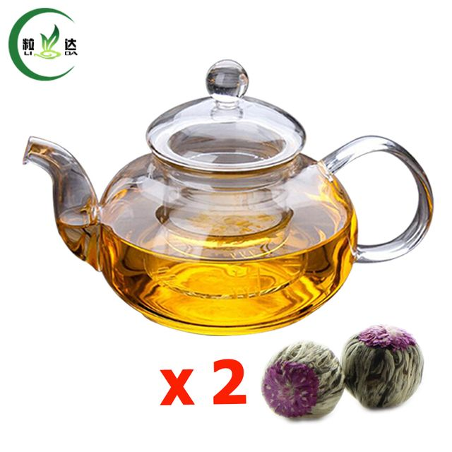 600ml High Quality Double Walled Glass Teapot With Infuser Filter Glass Kettle Green Tea Teapot With 2pcs Blooming Tea