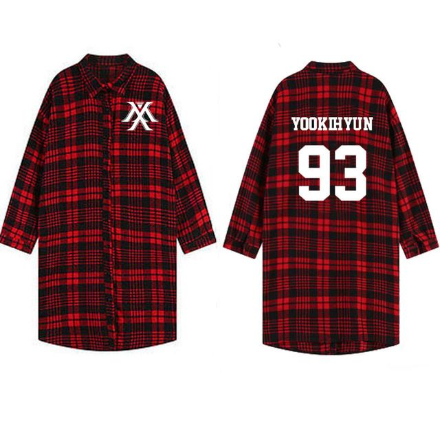2017 Hot Trend monsta x Sweatshirts Red and Black Check Shirt Women hoody Tennis Shirts Long Sleeve Shirt Sudaderas Mujer