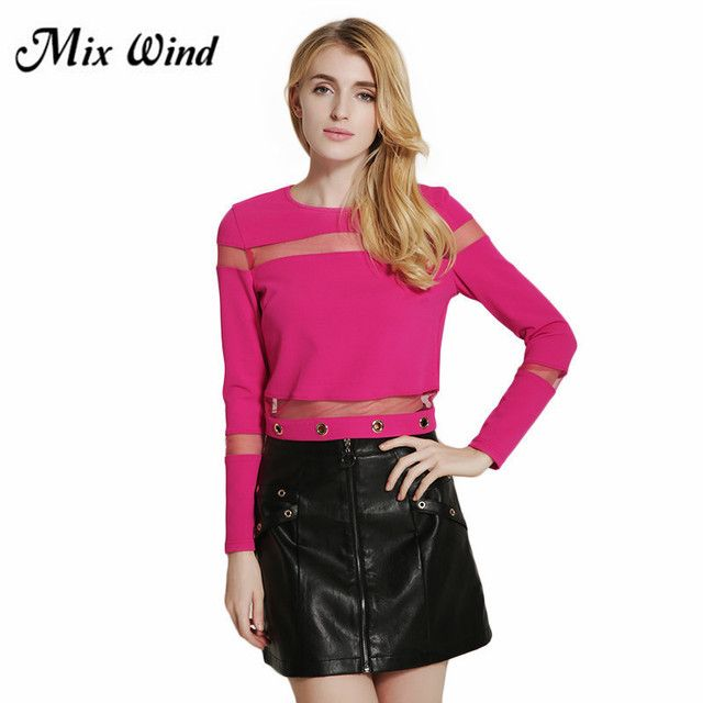 MIX WIND 2017 The new European and American women Slim solid color long - sleeved perspective T - shirt  Free shipping