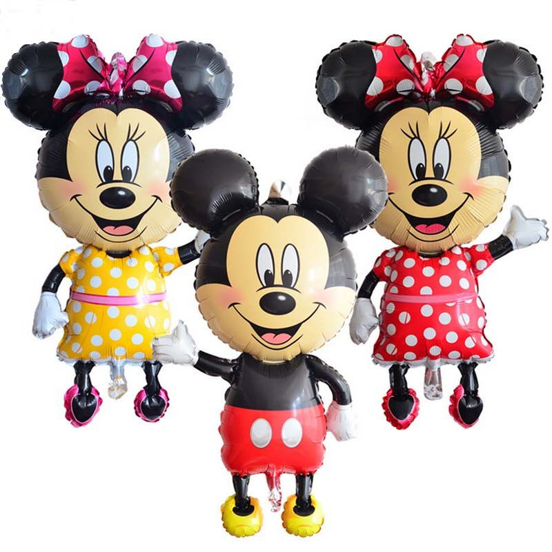 Super big 112cm  Mickey Minnie Balloon Cartoon Birthday Party decoration Foil Helium air balloon  Kids Baby Toys Party supplies