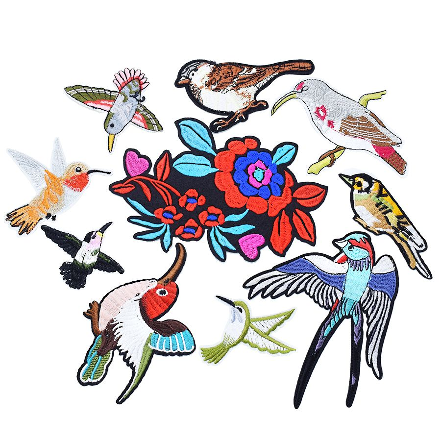 Birds flower  patches for clothing iron on patches for clothes badges clothes iron-on parches applique patches for jeans 10pcs