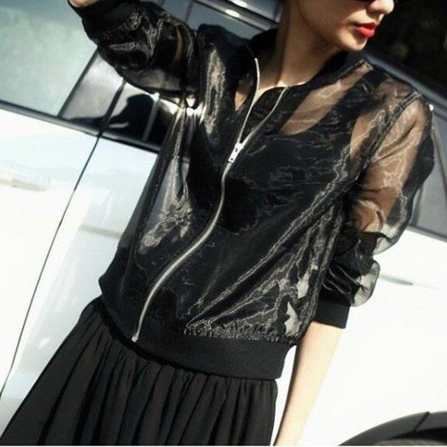 Women Long Sleeve Lace Sheer Zip Up Cardigan Coat Jacket See Through Suncreen Zipper Short Streewear Outwear Crop Blouse Top
