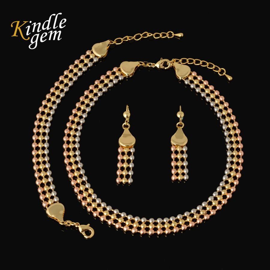 New Statement Necklace Earrings Bracelet Set For Women High Quality Italy 750 Gold Color Jewelry Choker Three Color Beads