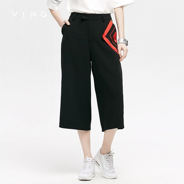 VING Capri Pants 2017 Summer Wommen High-waisted Steamship Contrast Color Wide Leg Trouser