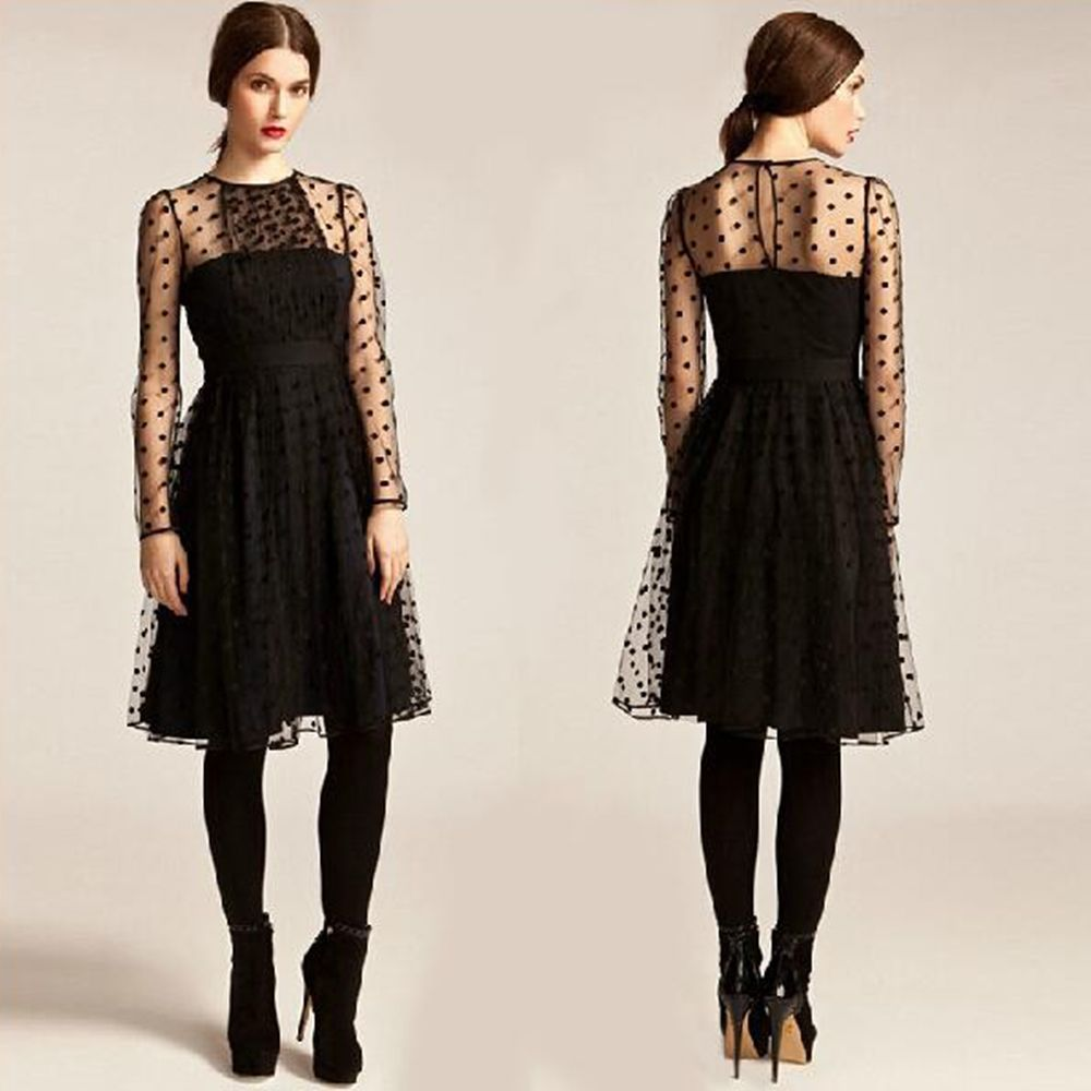 Sexy Lace Net Yarn Dresses Party Elegant Polka Dot Sheer Design Long Sleeve Midi Mesh Transparet Retro Sheer Contrast Robe Femme
