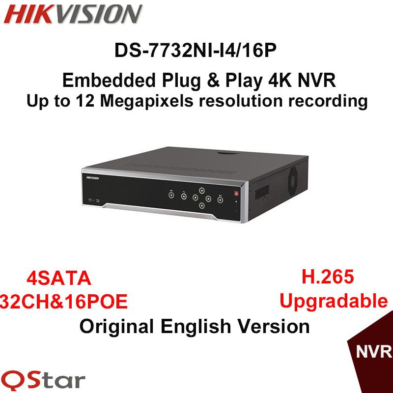 Hikvision Original English Version DS-7732NI-I4/16P Embedded Plug&Play 4K NVR 32CH 4 SATA&16 PoE 12MP H.265