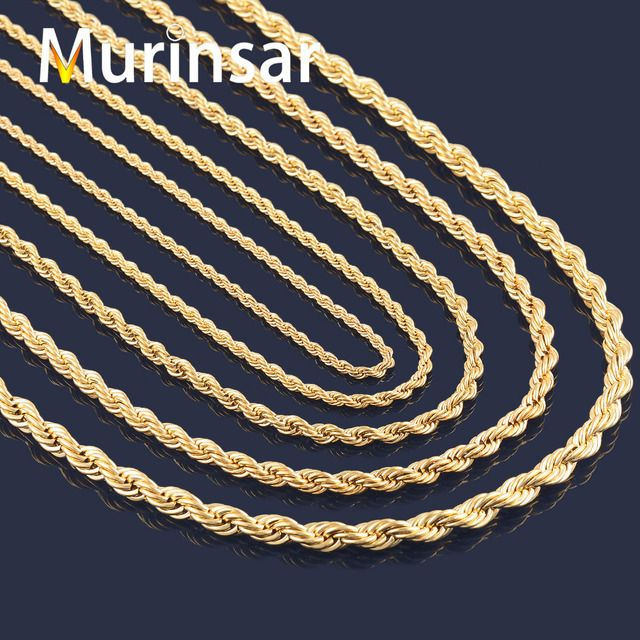 Gold Filled Stainless Steel Necklace Rope Chain for Men and Women Stainless Steel Gold Chain Necklace High Quality