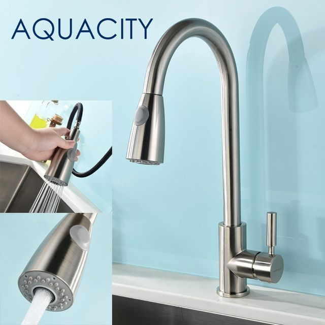 Free shipping Elegant sloid Brass Brushed Nickel Pull Down Kitchen Faucet Mixer Hot And Cold with 2 Function Spray Kitchen Tap