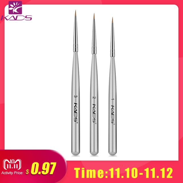 KADS 3pcs/set Professional Acrylic Nail Art Brush Set for UV Gel Builder Nal Brushes for brush for drawing
