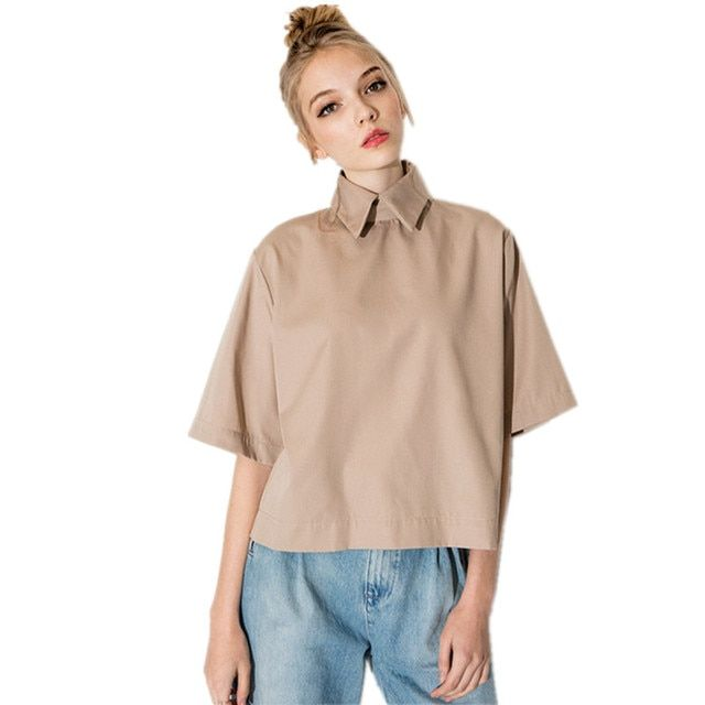 Elegant Women Shirt 2017 New Summer Style Short Blouse for Ladies Half Sleeve Loose Shirts High Quality khaki Blouses ST051