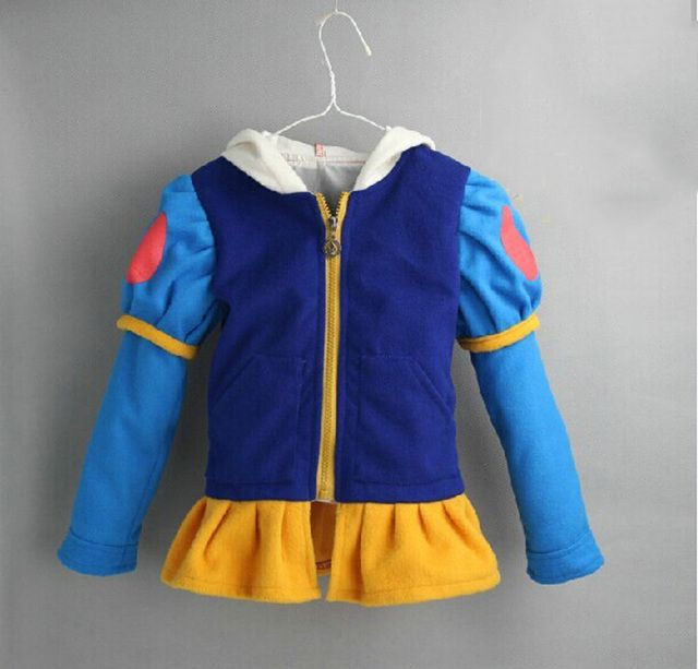 Retail new 2016 spring autumn hoodie princess snow white anna elsacartoon jacket clothes girl outerwear