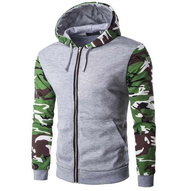 Free shipping 2018 camouflage color sporting jacket hooded men's fashion sportswear zipper Hoodie