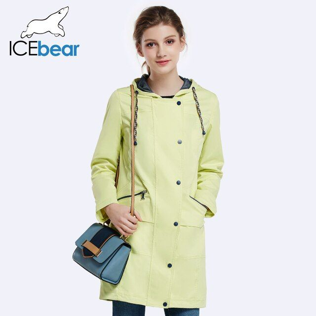ICEbear 2017 Women Autumn Long Trench Coat For Women Full Sleeve Drawstring Waist Coats Single Breasted  17G152D