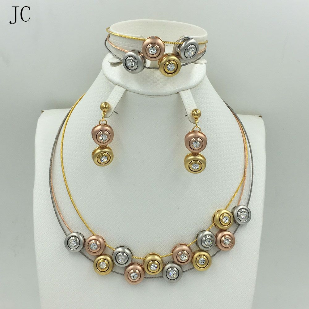2017New High Quality Italy 750 Jewelry Sets Fashion Parure Bijoux Femme Dubai Arican Earrings Necklace China Choker