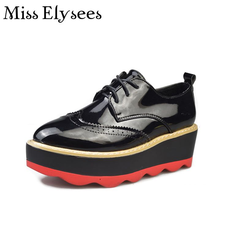 Flat Platform Shoes Women Palent Leather Winter Shoes British Style Brogue Shoes Brand Women Oxfords Pointed Toe Woman Flats