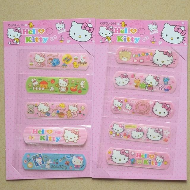 5pcs/Set Cute Hello KT Waterproof Band-Aid Bandage Sticker Baby Kids Care First Band Aid Travel Camping Medical Emergency Kit
